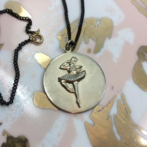 VINTAGE | ballerina pendant necklace black chain